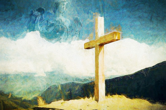 Křesťanský symbol kříže. Tradiční symbol velikonoc.
