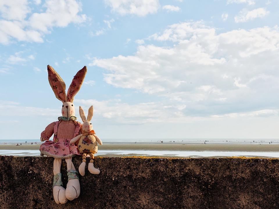 Dva velikonoční zající sedící u moře.