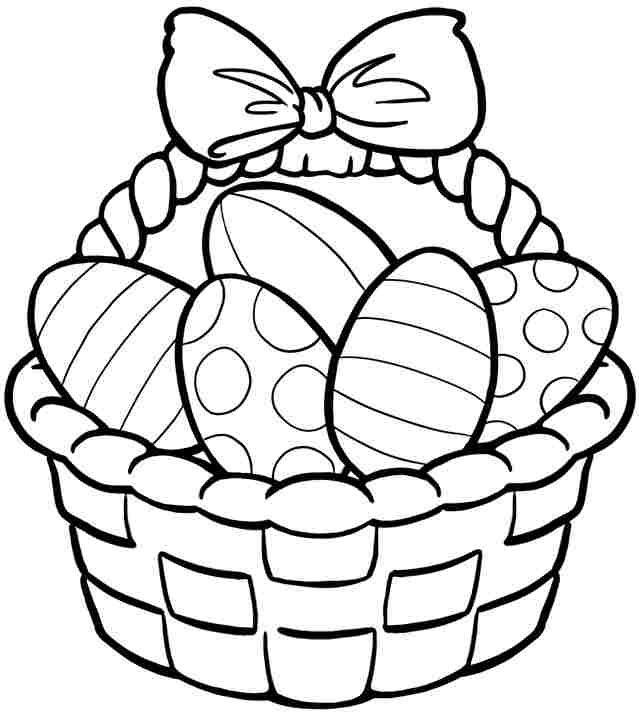 Košík s velikonočními vajíčky omalovánky