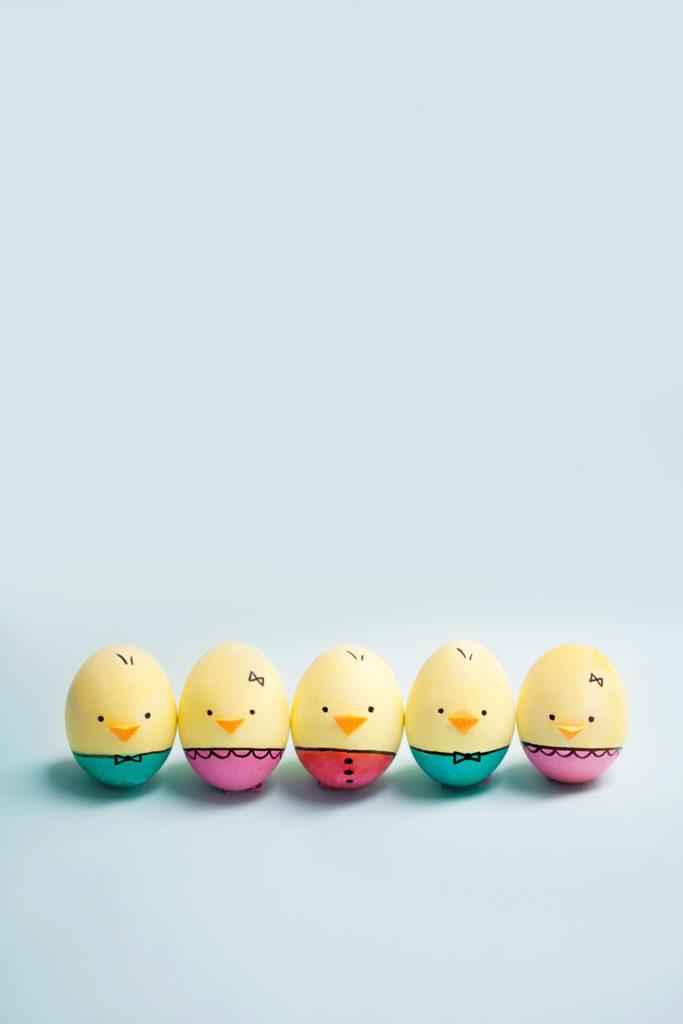 Velikonoční vajíčka připomínající kuřátka
