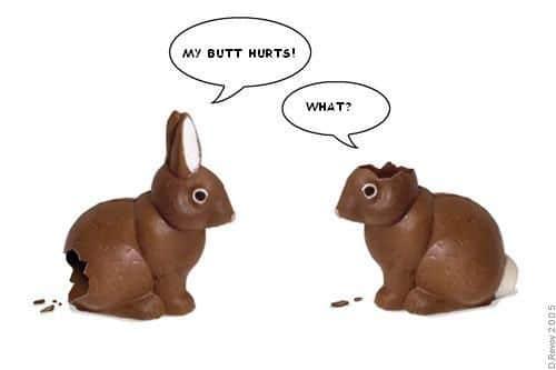 Humorný velikonoční obrázek se zajíčky.