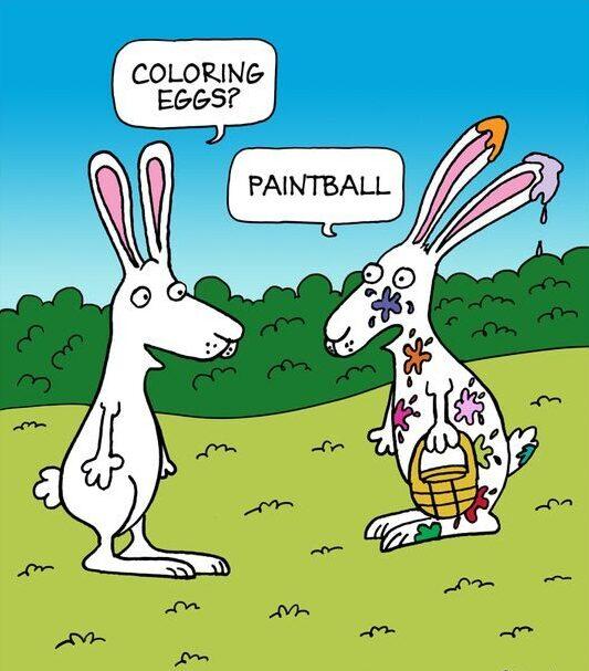 Vtip o zajíčcíh na Velikonoce.