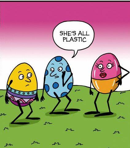 Velikonoční vajíčka vtípkují o plastovém vejci.