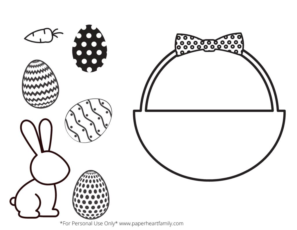 Velikonoční košík se zajíčkem a vajíčky k vystřižení.