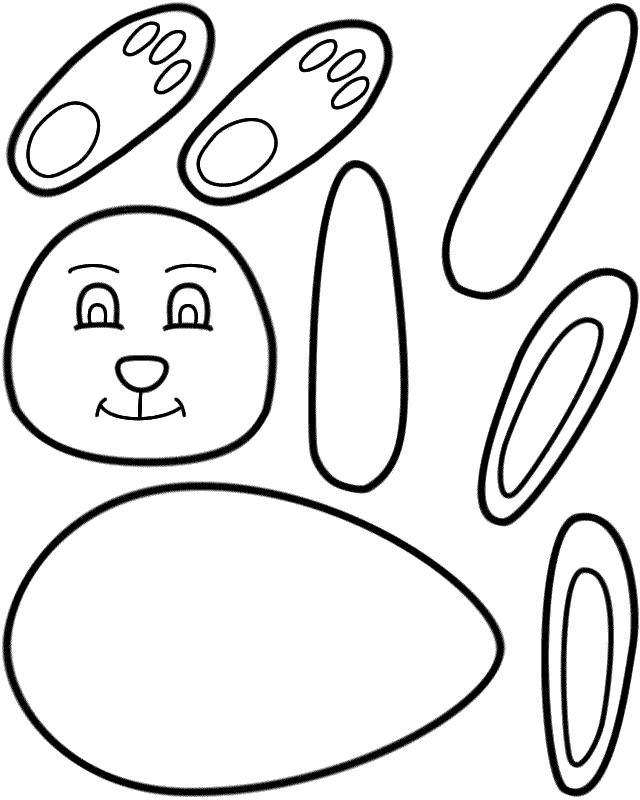 Velikonoční šablona na zhotovení zajíčka.
