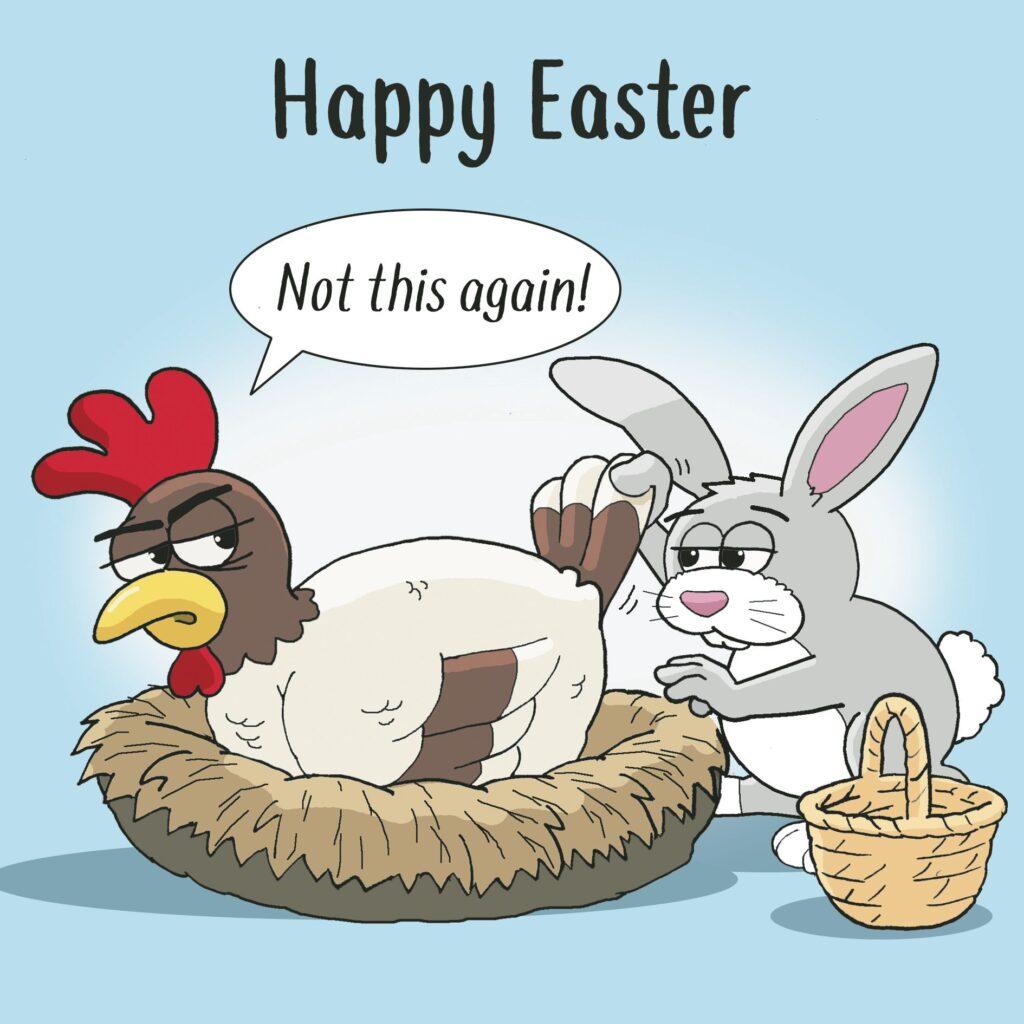 Obrázkový vtípek o Velikonocích se zajícem a slepicí.